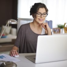 Woman flexible working from home