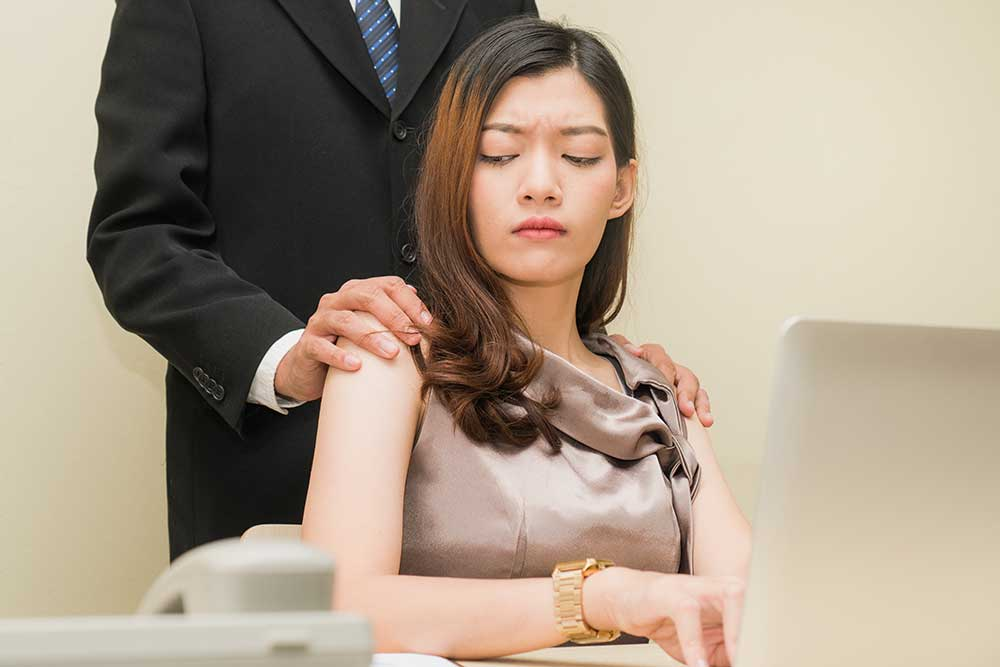 sexual harassment at work by male employer on female employee