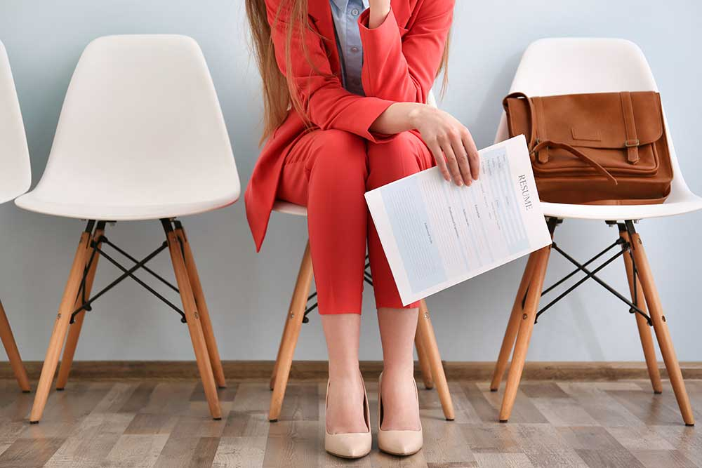 Woman waiting for job interview